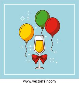 wine glass bow balloons flying decoration party christmas