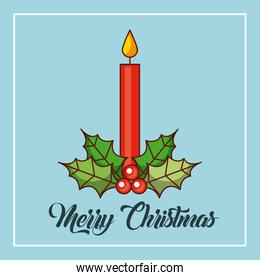 merry christmas candles burning holly berry decoration
