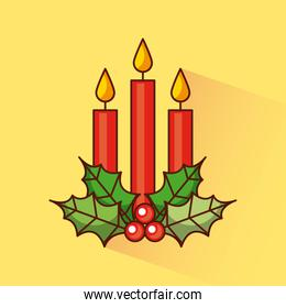 christmas three candles decoration holly berry traditional