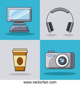 collection gadgets technology innovation modern