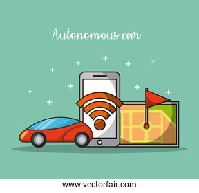 autonomous car self-driving mobile application in use of transport service