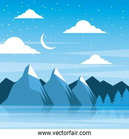 night winter mountains moon clouds pine tree reflection