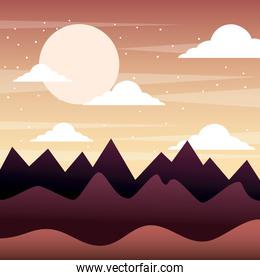 sunset landscape mountains silhouette sky clouds
