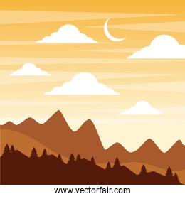 landscape sunset in the mountains crescent moon sky clouds