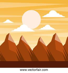 landscape sunset in the mountains full moon and clouds scene