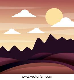 landscape sunset in the mountains hills sky panorama