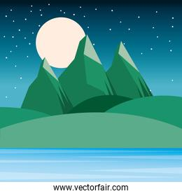 night landscape mountains hills moon and sky starry