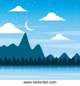 landscape night mountains forest pine tree and sky moon