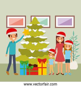family together decorating christmas tree and gifts