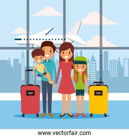 family in airport waiting room travel vacations