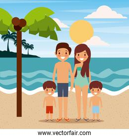 family wearing swimsuits in the beach sea landscape