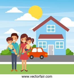 family standing in front of the house happy