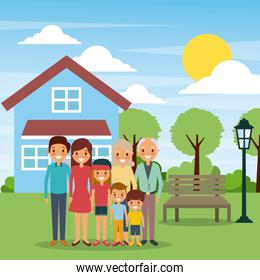 family standing in front house with bench lamp sun day