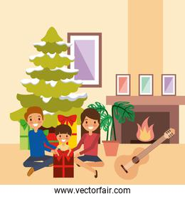 family celebrating christmas together tree chimney and music
