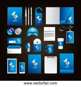 corporate identity template design with creative agency blue color elements business stationery