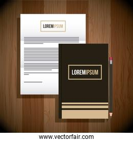 stationery template business branding document and notebook pencil wooden background