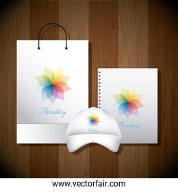 stationery template business floristery paper bag baseball cap and notebook