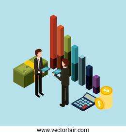 businessmen standing holding tablet graph bar money and calculator isometric