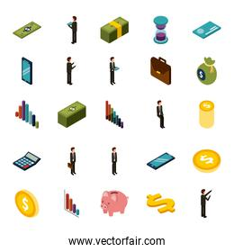 money isometric set of icons business