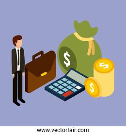businessman isometric briefcase bag money coins and calculator