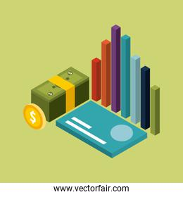 money isometric stacked banknote coin card and graph