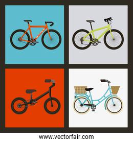set of the different bicycles sport transport touring