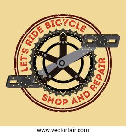lets ride bicycle shop and repair pedal chain badge