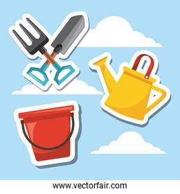 gardening tool equipment with sky background