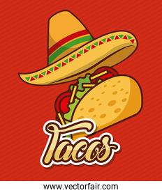 mexican hat and taco fast food traditional
