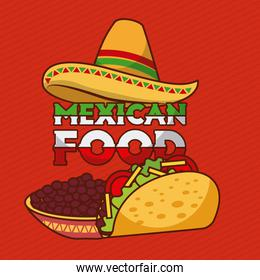 mexican food tacos and beans in bowl with hat decoration