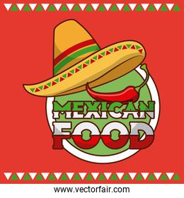 mexican food hat and chili pepper card
