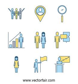 business people teamwork icon set in thin line style