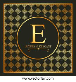 luxury and elegant gold e font and geometric figures