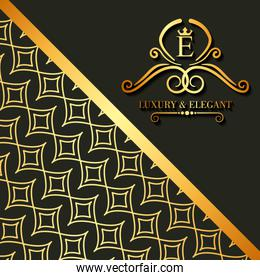 luxury and elegant floral golden abstract card