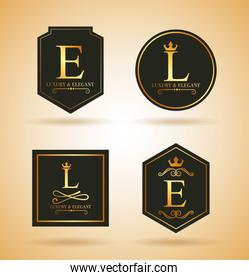 set of luxury golden badges and stickers royal flourishes calligraphic ornament