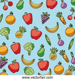 food vegetables and fruit delicious seamless pattern