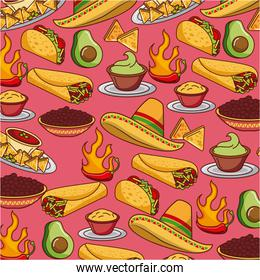 seamless pattern mexican food hat traditional