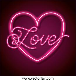 neon word love with heart design element for happy valentines day