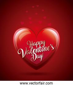 happy valentines day card glowing heart lovely