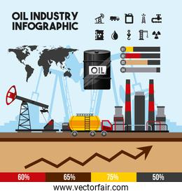 oil industry infographic of processing petrol and transportation production elements