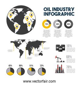 oil industry infographic gas extraction charts diagram with world map
