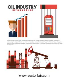 oil industry infographic businessman statistics station gas and extraction production
