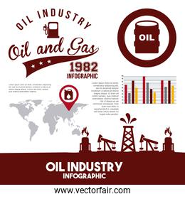 oil industry infographic gas pump map information retro