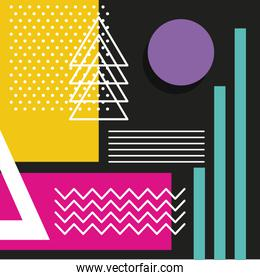 memphis style pattern repeating geometric shape pastel color and dark background
