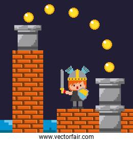 pixel game knight shield sword coins and brick wall