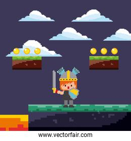 pixel game warrior with gold coins and landscape