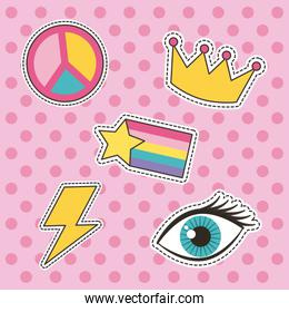 set of patches or stickers cute cartoon icons polka dots