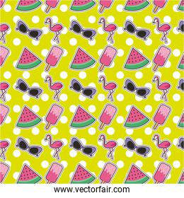 set of patches or stickers cute cartoon icons polka dots background