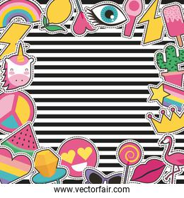 set of patches or stickers cute cartoon stripes background