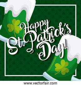 happy st patricks day card greeting beers glass celebration